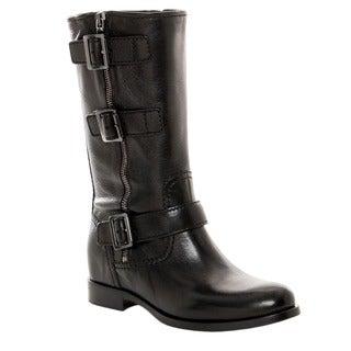 Prada Women's Black Leather Buckle Detail Mid-calf Boots