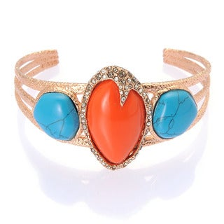 De Buman 18k Rose Goldplated Metal Created Turquoise and Red Coral Bangle