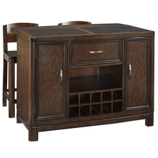Crescent Hill Kitchen Island w/ Granite Top and Two Stools