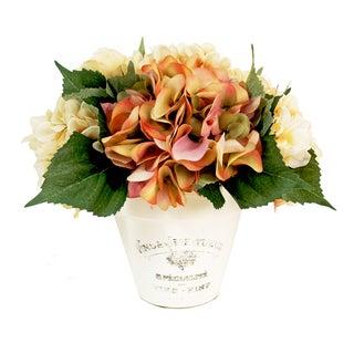 Mixed Color Hydrangea White Clay Planter