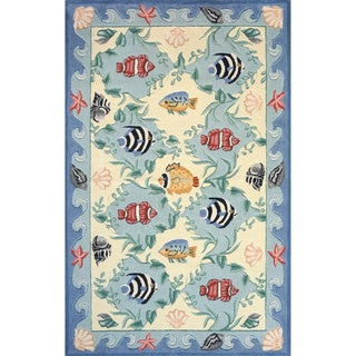 Ocean Blue Hand-hooked Cotton Rug (4' x 6')