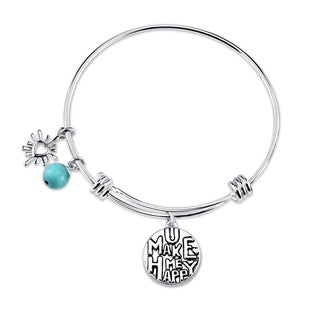 Shine Stainless Steel Turquoise 'You Are My Sunshine' Expandable Bangle