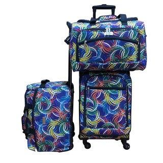 Chocolate New York Swirl 3-piece Carry On Spinner Luggage Set