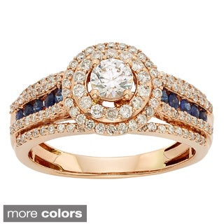 Sofia 14k Gold 1ct TDW Diamond and Sapphire Accent Bridal Ring (H-I, I1-I2)