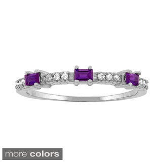 10k White Gold Designer Birthstone Ring