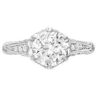Sterling Silver 1/4ct TDW Diamond Moissanite Engagement Ring (G-H, SI1-SI2)