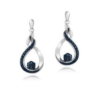 DB Designs Sterling Silver Blue Diamond Twisted Teardrop Dangle Earrings