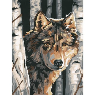 """Paint Works Paint By Number Kit 9""""X12""""-Wolf Among Birches"""