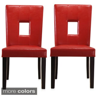 K&B Parson Faux Leather Chair (Set of 2)