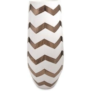 Bronze Metallic Chevron Vase