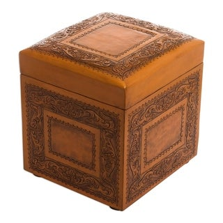 Handcrafted Leather Mohena Wood 'Golden Colonial Ivy' Ottoman (Peru)