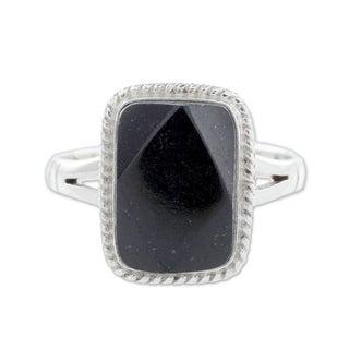 Sterling Silver 'Black Maya Princess' Black Jade Ring (Guatemala)