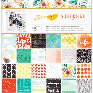 "American Crafts Paper Pad 12""X12"" 48/Pkg-Amy Tan - Stitched"
