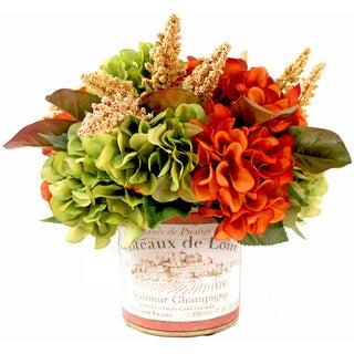 Orange/ Green Silk Hydrangea in Vineyard Pot