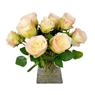 Peach Roses in a Glass Vase Filled with Acrylic Water