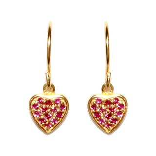 Gold over Sterling Silver Ruby Red Cubic Zirconia Heart-shaped Drop Earrings