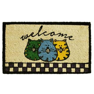 Fat Cats Welcome Coir with Vinyl Backing Doormat (1'5 x 2'5)