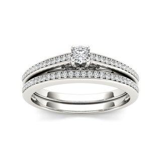 De Couer 10k White Gold 1/2ct TDW Diamond Solitaire Bridal Ring Set (H-I, I2)