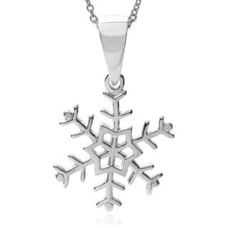 Journee Collection Sterling Silver Snowflake Pendant