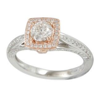 Suzy Levian 18k Two-Tone Gold 1.08ct TDW Diamond Halo Ring (I-J, I1-I2)