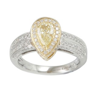 Suzy Levian 18k Two-Tone Gold 1.18ct TDW Diamond Halo Engagement Ring