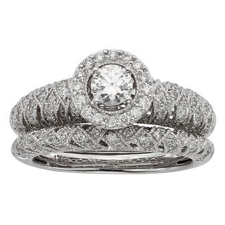 Sofia Art Deco 14k White Gold 1ct TDW Diamond Bridal Set (H-I, I1-I2)