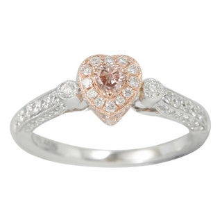 Suzy Levian 18k Gold 4/5ct TDW Brown-Pink and White Diamond Heart Ring (G-H, SI1-SI2)