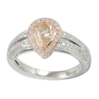 Suzy Levian 18k Two-tone Gold 1 1/4ct TDW GIA-certified Pear-cut Champagne Diamond Ring (VS1-VS2)