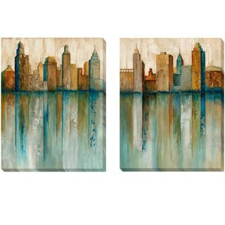 Norm Olson 'City View I and II' 2-piece Canvas Set