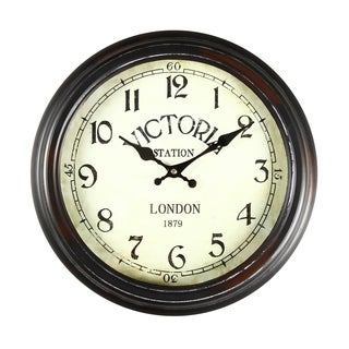 Adeco Antique-look Brown Round Wall Hanging Clock