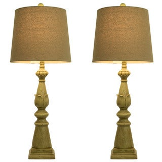 spring green lamps with linen hardback shade set of 2 sale. Black Bedroom Furniture Sets. Home Design Ideas