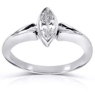 Annello 14k White Gold 1ct TDW AGA-certified Marquise Diamond Solitaire Ring (G, SI1)