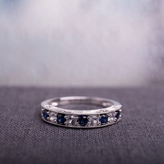 Miadora Sterling Silver Created Blue and White Sapphire Semi-eternity Ring