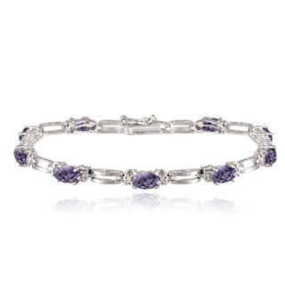 Glitzy Rocks Sterling Silver 5ct TGW Gemstone Diamond Accent Bracelet
