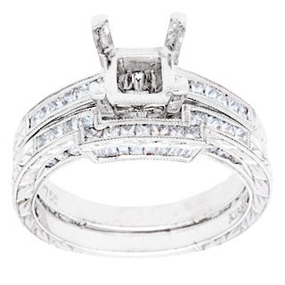 18k White Gold 9/10ct TDW Diamond Bridal Ring Set (G-H, VS2-SI1)