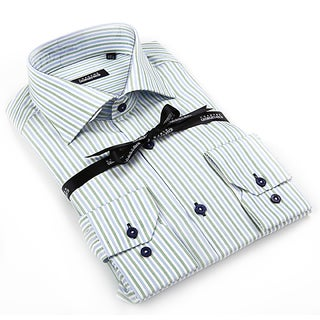 Georges Rech Men's Green/ White Striped Button-down Shirt