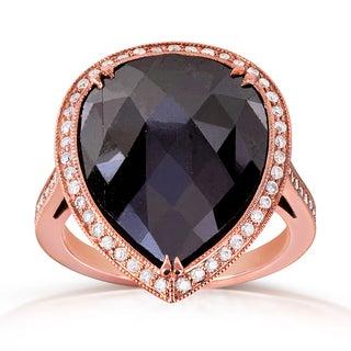 Annello 14k Rose Gold 7 1/5ct TDW Pear Shape Black and White Diamond Halo Ring (G-H, I1-I2)