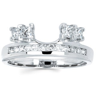 14k White Gold 3/4ct TDW Round and Princess-cut Diamond Ring Wrap (I-J, I1-I2)