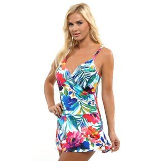 It Figures! Women's Multi Colored Skirted One Piece Swim Dress