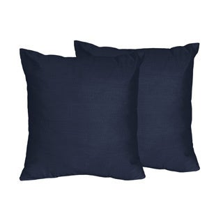 Navy/ Green Stripe Decorative Accent Throw Pillows (Set of 2)