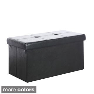CorLiving Denali 28-inch Folding Storage Ottoman in Leatherette