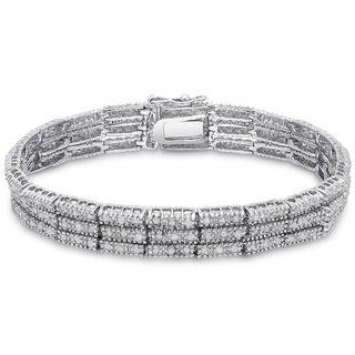 Finesque Silver Overlay 2ct TDW Diamond Three Row Bracelet (I-J, I2-I3)
