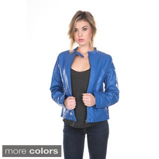 Stanzino Women's Slim Fit PU Biker Jacket