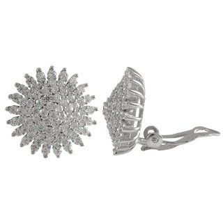 Sterling Silver Cubic Zirconia Cluster Starburst Circle Clip-on Earrings