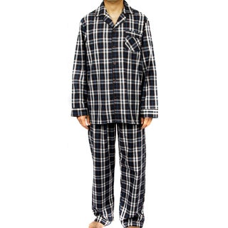 Leisureland Men's 100-percent Cotton Poplin Plaid Pajama Set