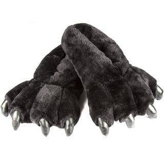 Leisureland Unisex Black Animal Bear Paw Furry Slippers