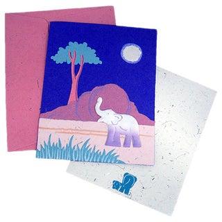 Handmade Designer Purple Elephant Poo Paper Card (Sri Lanka)