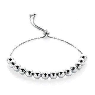 Mondevio Sterling Silver Bead Pull-String Bracelet