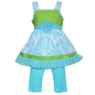 Ann Loren Boutique Girls Blue Damask & Green Polka Dot Dress with Capri Leggings 2 piece outfit