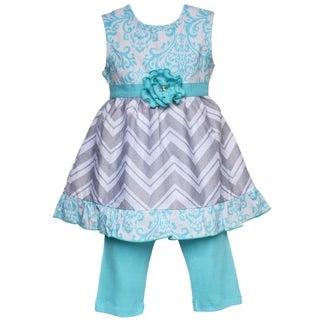 AnnLoren Boutique Girls Blue Damask and Grey Chevron Dress with Capris 2-piece Set